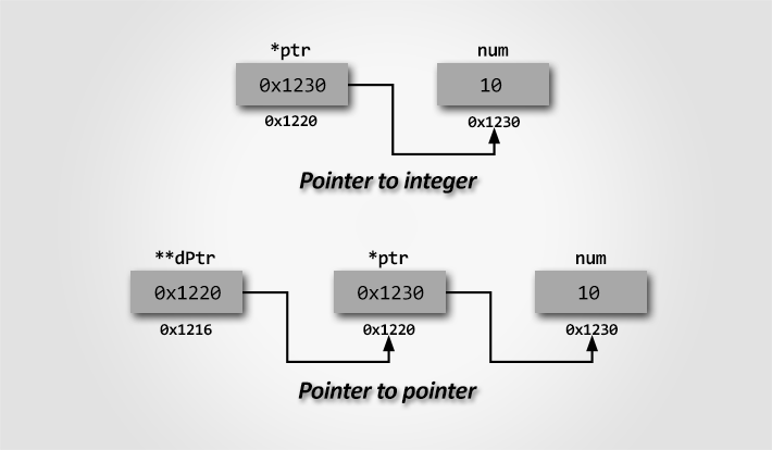 Pointer to Pointer (Double pointer) memory representation