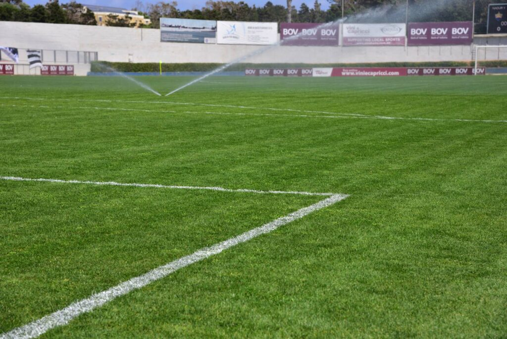 Gozo Football Stadium turf being watered