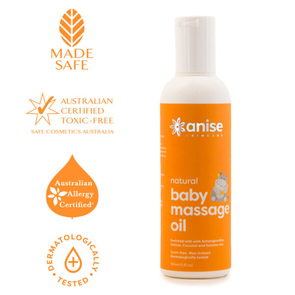 Anise natural baby massage oil certifications