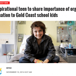 My GC: Inspirational teen to share importance of organ donation to Gold Coast school kids