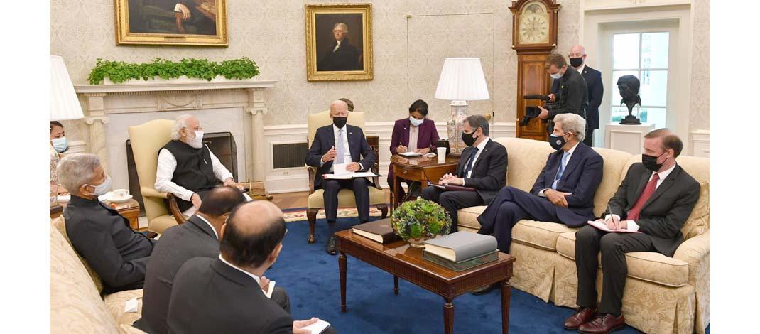 प्रधानमन्त्री नरेंद्र मोदी की अमेरिकन राष्ट्रपति जोसेफ रॉबिनेट बाइडेन से मुलाक़ात