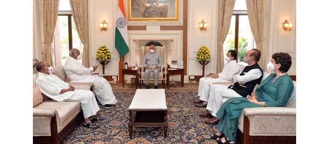 राहुल गांधी के नेतृत्व में कांग्रेस पार्टी के प्रतिनिधिमंडल ने राष्ट्रपति से मुलाक़ात की : गृह राज्य मंत्री को बर्खास्त करने की मांग की