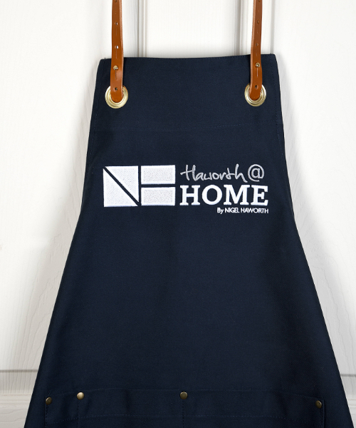 Navy Apron with Leather Neck Strap