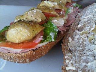 artichoke mortadella bread roll 320