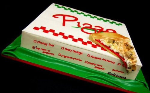 """From the Pink Cake Box: """"We created this cake for a bride's fiancé who is a """"pizza freak"""". The cover of the pizza box has special meaning to the couple since they met in Italy. We included cute flavors including cheesy love, saucy sausage, & puppy-love peppers."""""""