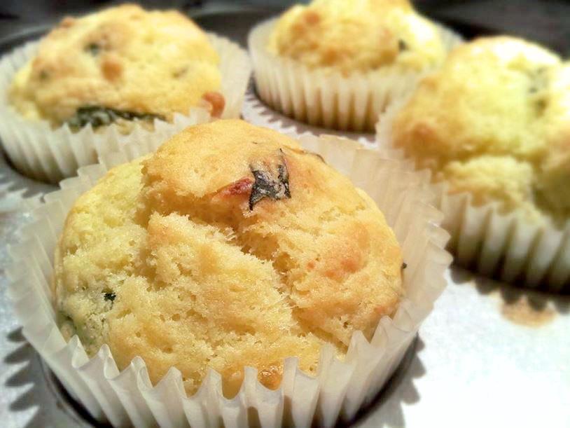 asparagus and three cheese muffin