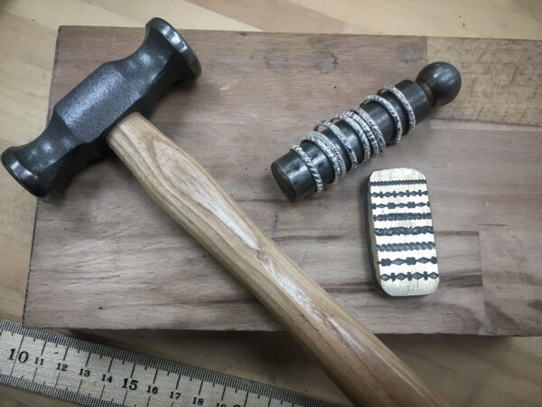 Hammer, Mandrel, & Wire pattern former, with rings on stake