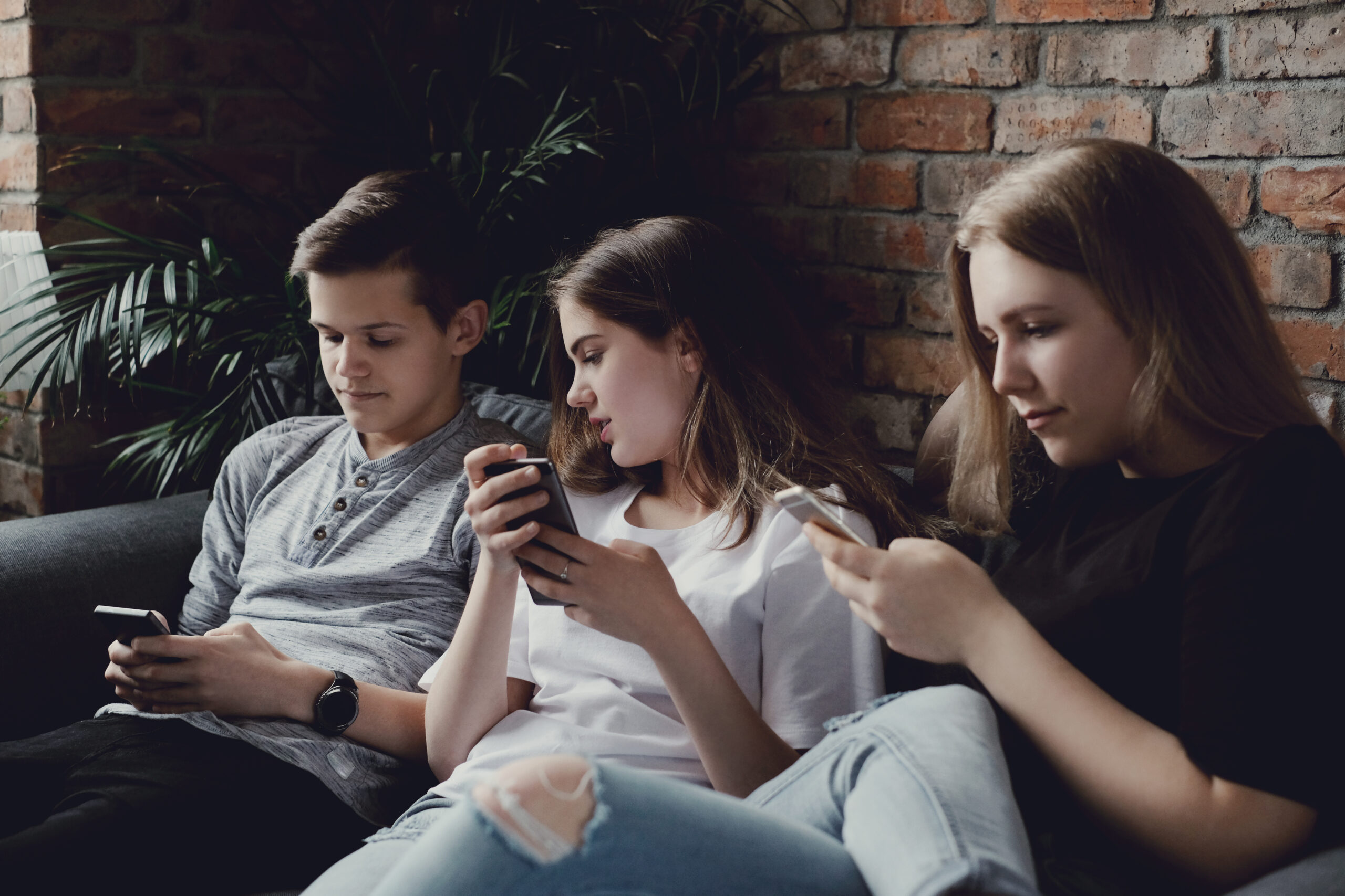 Group of teenagers at home