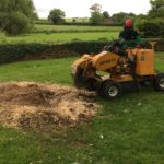 Stump removal with wheeled grinder