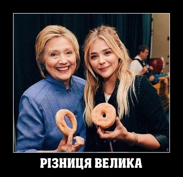 Різниця велика. Гілларі Клінтон і молода дівчина тримають пончики. В Клінтон пончик з великою діркою, в дівчини - з маленькою