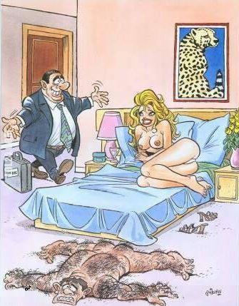 Ґіві сховався. Чоловік несподівано повернувся з відрядження. Дружина в цей час була з коханцем, який був дуже волохатим. Коли він почув чоловіка, розлігся на килимі і злився з ним