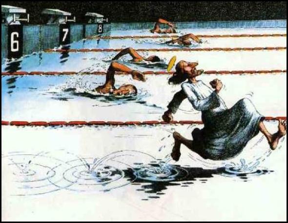 Змагання з плавання. Всі пливуть, а Ісус біжить по воді
