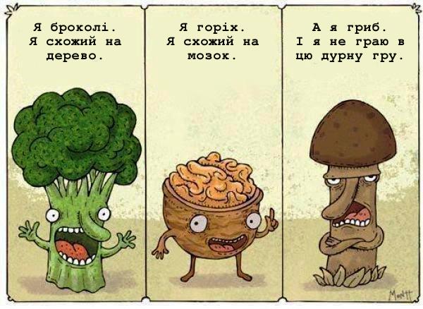 Зібрались броколі, горіх і гриб. - Я броколі. Я схожий на дерево. - Я горіх. Я схожий на мозок. - Я гриб. І я не граю в цю дурну гру.