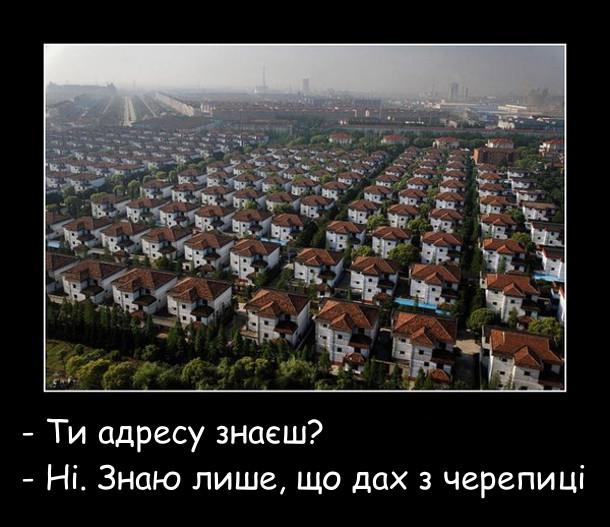 В містечку всі будинки однакові. - Ти адресу знаєш? - Ні. Знаю лише, що дах з черепиці