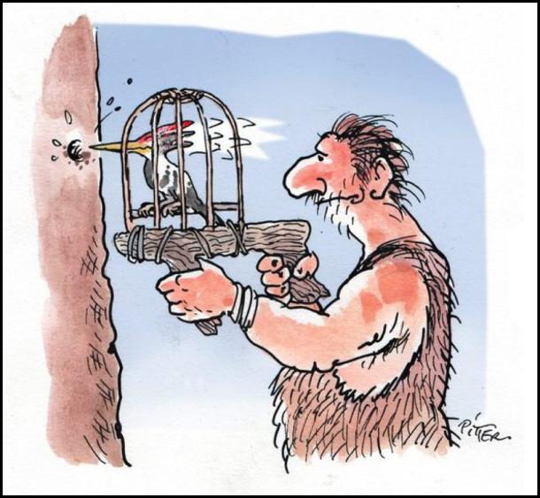 Смішний малюнок про доісторичні часи. Перший дриль. В якості свердла використовувався дятел