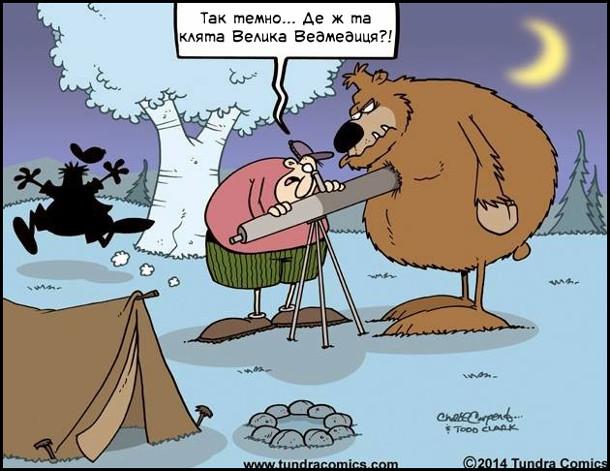 Смішний малюнок Астроном на пікніку в лісі дивиться в телескоп на небо до нього підійшов ведмідь і закрив собою телескоп. Астроном: - Так темно… Де ж та клята Велика Ведмедиця?!
