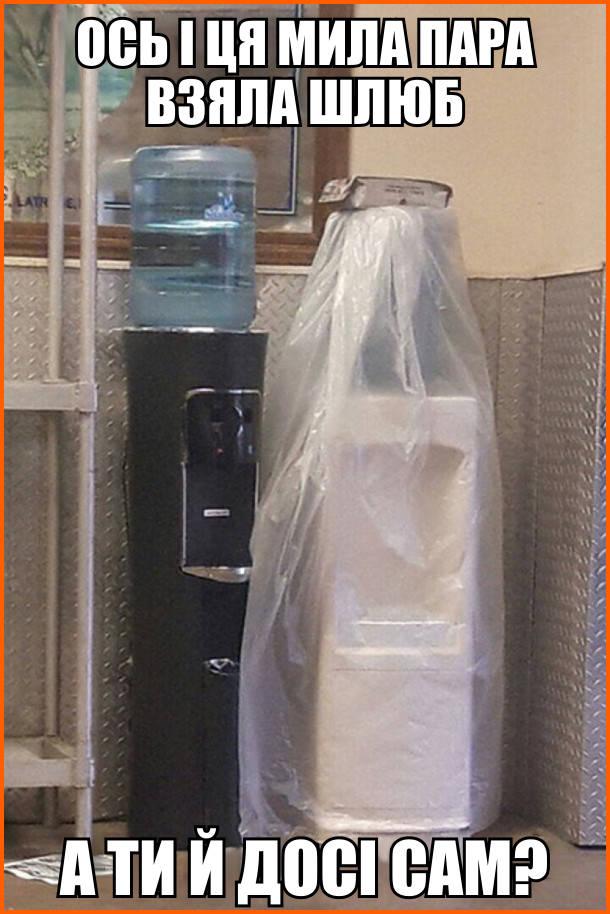 Ось і ця мила пара взяла шлюб. А ти й досі сам? На фото: стоять два диспенсери - один чорний, другий білий, накритий целофаном. Виглядає неначе жених і наречена