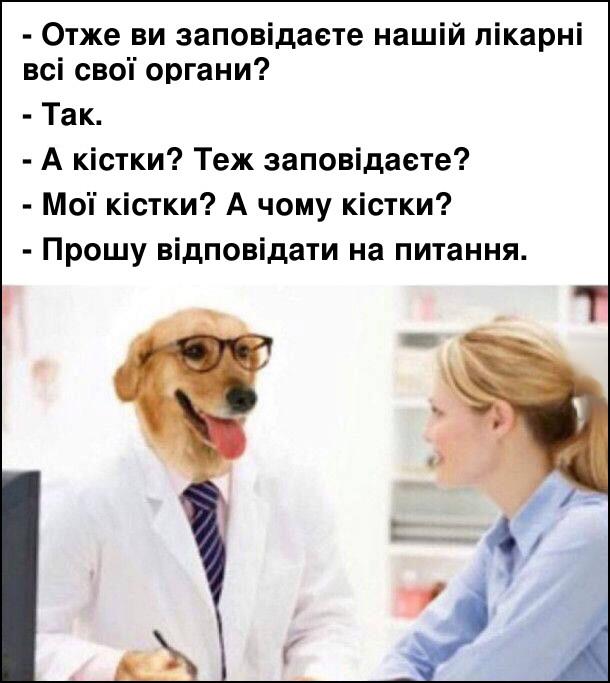 Прикол пес лікар до пацієнтки. - Отже, ви заповідаєте нашій лікарні всі свої органи? - Так. - А кістки? Теж заповідаєте? - Мої кістки? А чому кістки? - Прошу відповідати на питання.