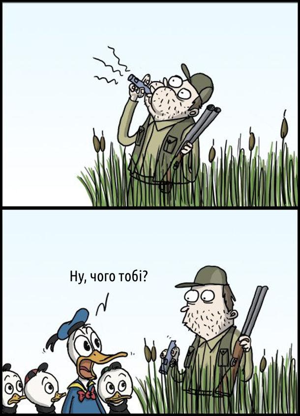 Прикол Качине Полювання. На качиному полюванні мисливець подув в свисток, що імітує качине крякання. До нього підійшли Дональд, Діллі, Біллі і Віллі. Дональд: - Ну, чого тобі?