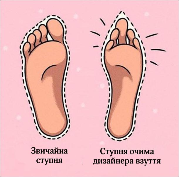 Звичайна ступня і ступня очима дизайнерів взуття