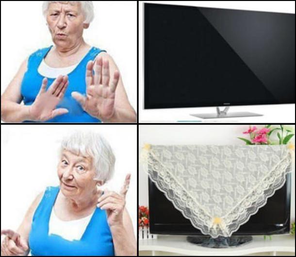 Якщо телевізор не накритий - бабуся проти. Якщо телевізор накритий макраме (чи скатертиною) - о, саме те!