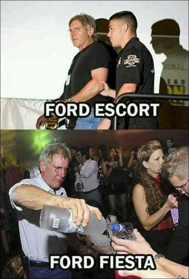 Ford Escort - Гаррісона Форда в наручниках ескортують поліцейські. Ford Fiesta - Гаррісон Форд на вечірці розливає алкоголь