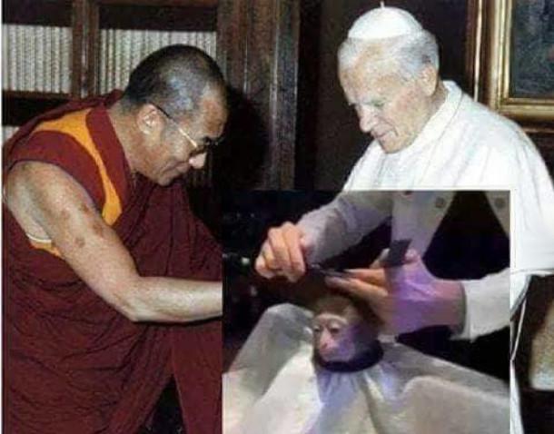 Мем Monkey Haircut (підстригання мавпи). Іоан Павло II та Далай Лама