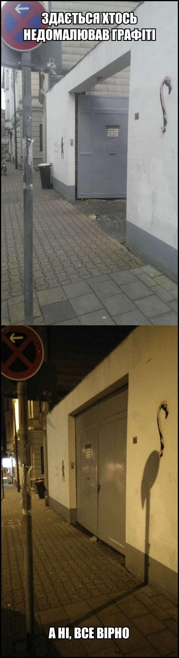 Здається хтось недомалював графіті: намальована лише шия фламінго. А ні, все вірно: Вночі від вуличного ліхтаря падає тінь і утворює тіло фламінго