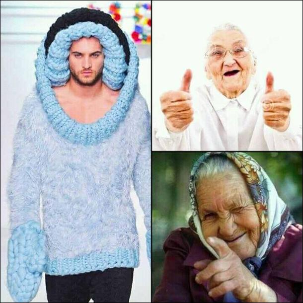 Мем про бабусь. Хлопець на подіумі, одягнутий теплий в'язаний светр з величезними в'язаними рукавицями. Бабусі задоволені