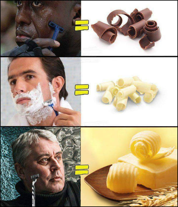 """Голиться чорношкірий чоловік - стружка чорного шоколаду. Голиться білий чоловік - білий шоколад. Голиться Лесь Подерев'янський - масло. (Від його твору """"Дохуя масла"""")"""