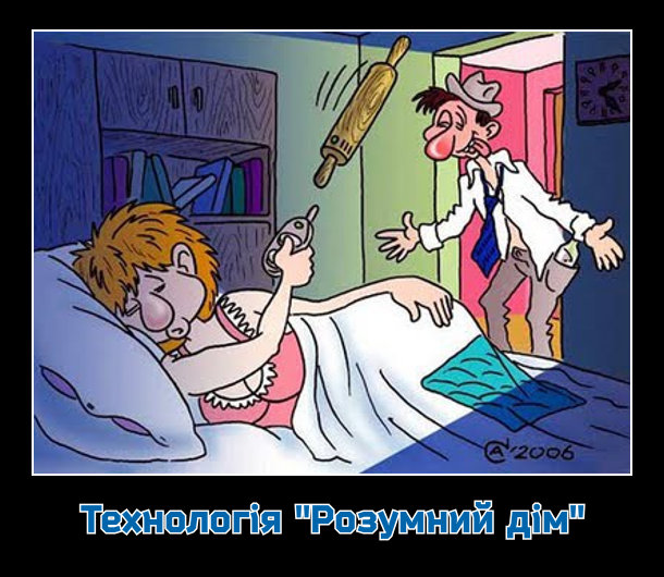 """Технологія """"Розумний дім"""". Дружина спить. В спальню заходить п'яний чоловік. Дружина спросоння натискає кнопку на пульті і радіокерована качалка б'є чоловіка"""