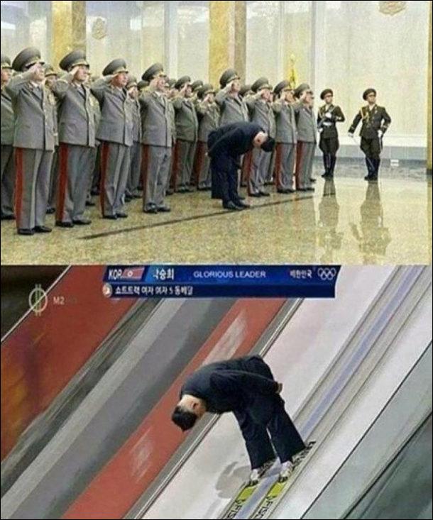 Мем про Кім Чен Ина. На урочистому прийомі Ин низько вклонився. Фотожаба: Кім Чен Ин нахилений на лижах