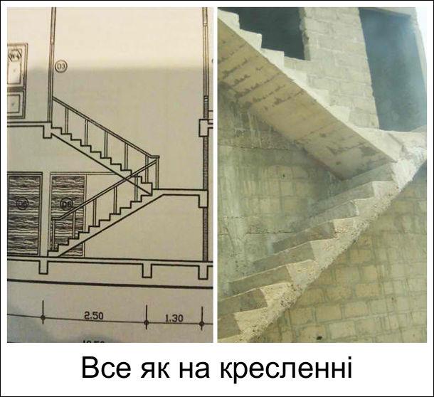 Оригінальні сходи. Будівельник подивився на креслення східців і зробив їх згідно креслення, але в одній площині