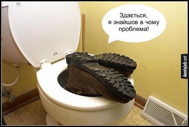 Жарт про сантехніка. Сантехнік заліз в унітаз,  лише стирчить взуття. З унітазу лунає: - Здається, я знайшов в чому проблема!