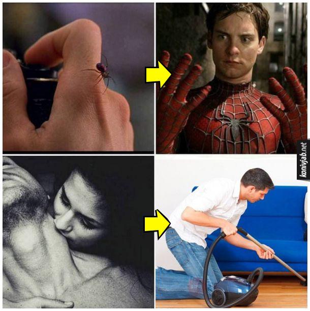 Мем Підкаблучник. Коли вкусив павук - став спайдерменом (людиною-павуком). Коли вкусила дівчина - став каблуком (підкаблучником) і почав прибирати в хаті, пилососити