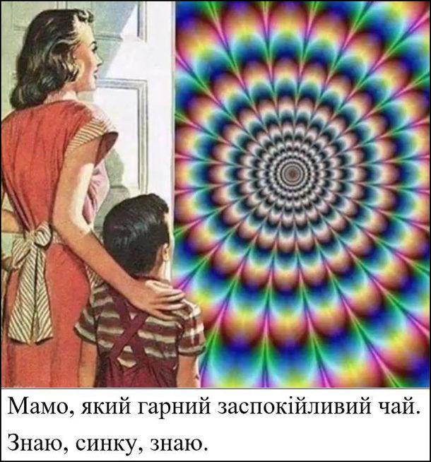Жарт про галюциногенний чай. Мама з сином дивляться галюцинацію. Син: - Мамо, який гарний заспокійливий чай. Мама: - Знаю, синку, знаю