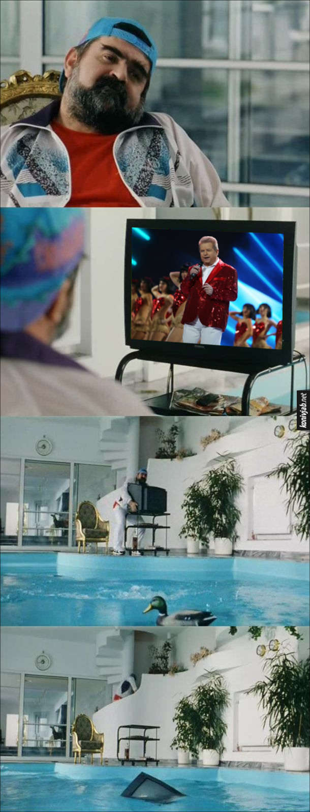 Мем Поплавський в телевізорі. Чоловік сидить в кріслі біля басейну і дивиться телевізор. По телевізору почали показувати концерт Поплавського. Чоловік кинув телевізор в басейн, а сам пішов собі