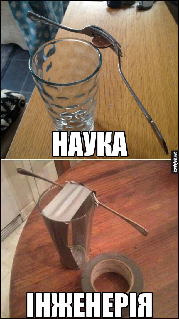 Жарт. Наука vs Інженерія. Наука: На склянці тримаються дві виделки за допомогою монети. Інженерія: до склянки виделки примотані скотчем