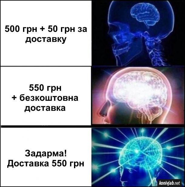 Мем про онлайн-замовлення. Перший варіант: 500 грн + 50 грн за доставку. Другий варіант: 550 грн + безкоштовна доставка. Третій варіант: Задарма! Доставка 550 грн