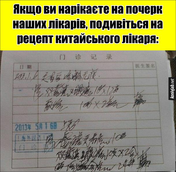 Почерк китайського лікаря. Якщо ви нарікаєте на почерк наших лікарів, подивіться на рецепт китайського лікаря