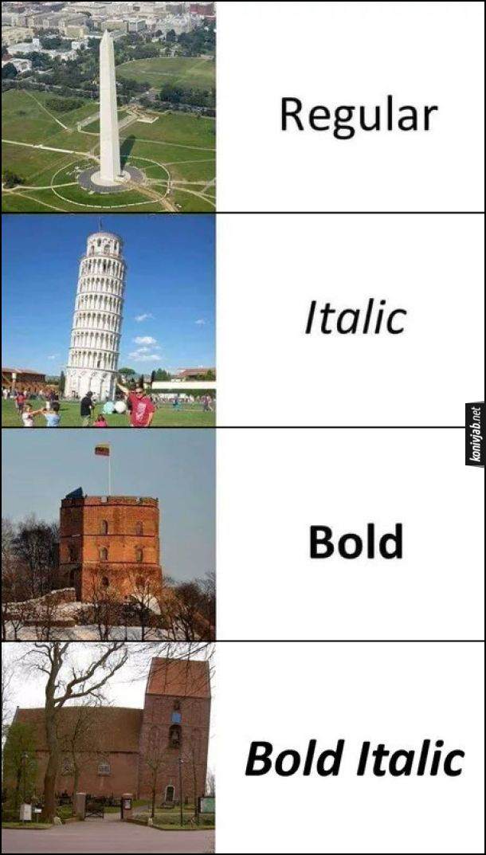 Жарт про шрифти. Монумент Вашингтона - Regular; Пізанська вежа - Italic; якась башта - Bold; похилий будинок з баштою - Bold Italic