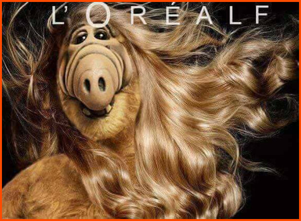Прикол з Альфом. Реклама шампуню Lorealf, де Альф з довгим, блискучим і шовковистим волоссям