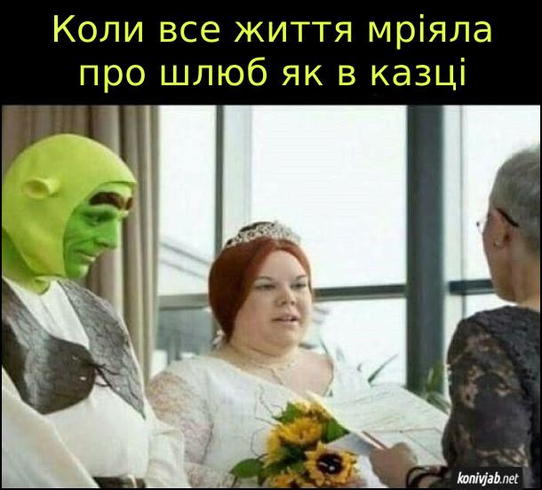 Смішне одруження, де наречений в костюмі шрека, а наречена - ніби принцеса Фіона. Коли все життя мріяла про шлюб як в казці