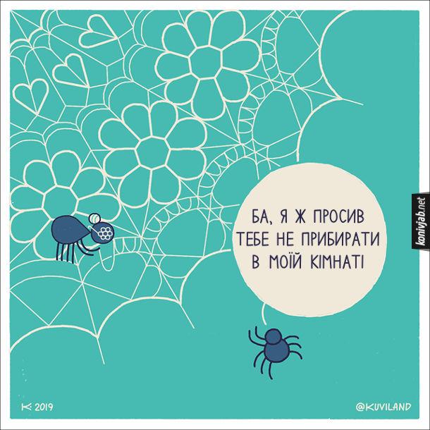 Смішний малюнок про павуків. Павук бачить, як його бабуся прикрашає його павутину різними візерунками. - Ба я ж просив тебе не прибирати в моїй кімнаті