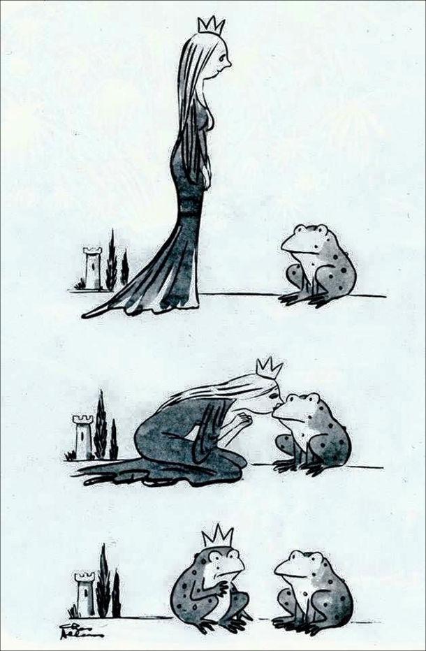 Прикол принцеса і жаба. Казкова принцеса поцілувала жабу і замість того, щоб жаба перетворилася на принца, вона сама стала жабою