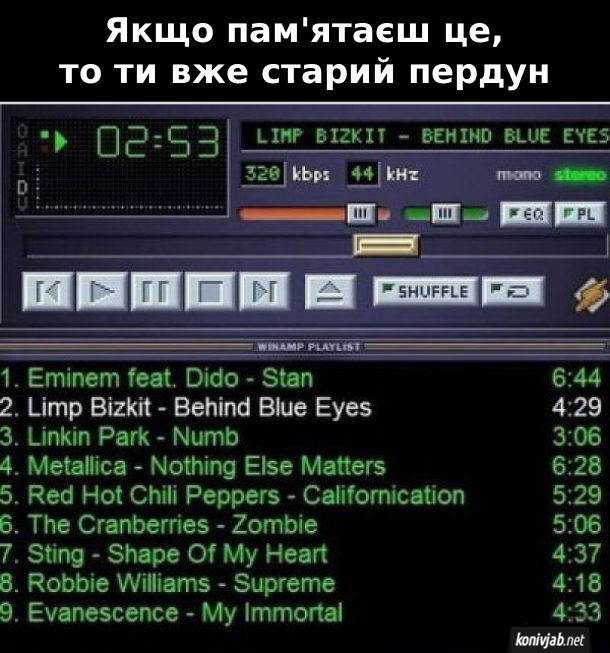 Якщо пам'ятаєш це, то ти вже старий пердун. Плейлист дев'яностих - початку двотисячних: Eminem feat. Dido - Stan, Limp Bizkit -Behind Blue Eyes, Linkin Park - Numb, Metallica - Nothing Else Matters, Red Hot Chili Peppers - Californication...