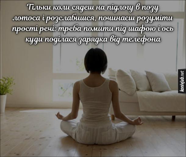 Анекдот про йогу. Тільки коли сядеш на підлогу в позу лотоса і розслабишся, починаєш розуміти прості речі: треба помити під шафою і ось куди поділася зарядка від телефона