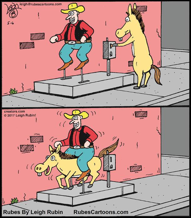 Смішний малюнок про коня. Кінь прийшов покататись на атракціоні, де вершник-ковбой без коня. Кинув монетку, заліз під вершника і катається