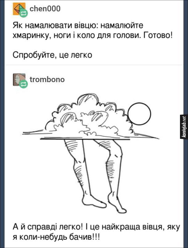 Смішні коменти в Реддіт. Як намалювати вівцю: намалюйте хмаринку, ноги і коло для голови. Готово! Спробуйте, це легко. Відповідь: А й справді легко! І це найкраща вівця, яку я коли-небудь бачив!!! (на малюнку хмара, дві людські ноги і коло)