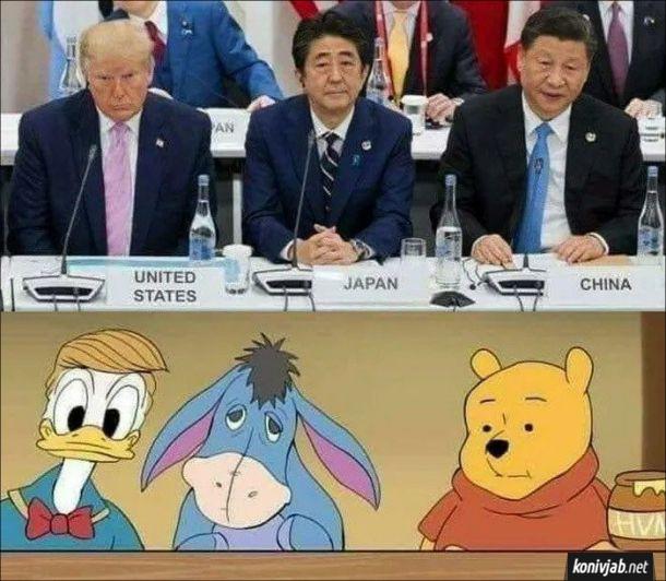 Прикол Світові лідери - Дональд Трамп (США), Сіндзо Абе (Японія), Сі Цзіньпін (Китай) - схожі на діснеєвських героїв Дональда Дака, Віслюка і Вінні Пуха